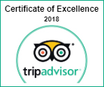 Trip Advisor 2018 - Certificate of Excellence Award